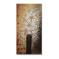 billiga Blom-/växtmålningar-styledecor® modern handmålade abstrakt en flaska vita blommor i den bruna bakgrundsoljemålningen på förpackad duk
