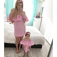 Odrasli Mama i mene Osnovni Dnevno Jednobojni Kratkih rukava Poliester Haljina Blushing Pink