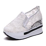 baratos Sapatos Femininos-Mulheres Sapatos Tule / Couro Ecológico Primavera Verão Conforto Mocassins e Slip-Ons Caminhada Creepers Dedo Fechado Branco / Preto