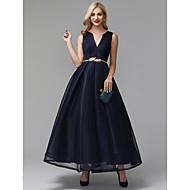 Γραμμή Α Λαιμόκοψη V Μέχρι τον αστράγαλο Spandex Κοκτέιλ Πάρτι / Χοροεσπερίδα Φόρεμα με Ζώνη / Κορδέλα με TS Couture®