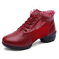 billige Dansesneakers-Dame Dansesko Nappa Lær Joggesko Kubansk hæl Dansesko Hvit / Svart / Mørkerød
