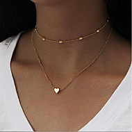 Women's Layered Thick Chain Stacking Stackable Choker Necklace Chain Necklace wrap necklace Heart Love Ladies Simple Vintage Multi Layer Heart Cool Gold Silver 35 cm Necklace Jewelry 1pc For Daily