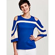 Tee-shirt Femme, Bloc de Couleur Mosaïque Chic de Rue Mince Bleu L / Printemps / Eté / Découpé