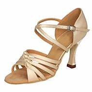 billige Sko til latindans-Dame Sko til latindans Sateng Høye hæler Slim High Heel Dansesko Beige / Ytelse / Lær / Trening