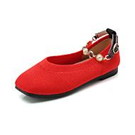 baratos Sapatos de Menina-Para Meninas Sapatos Tricô Primavera Verão Conforto Rasos Caminhada Pérolas Sintéticas para Adolescente Preto / Bege / Vermelho