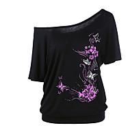 Dames Street chic Grote maten - T-shirt Bloemen Boothals Ruimvallend / Sexy