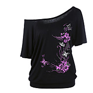 Mulheres Tamanhos Grandes Camiseta Moda de Rua Floral Decote Canoa Solto / Sexy