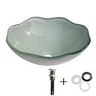 お買い得  洗面ボウル-洗面ボウル / 取付リング / 排水ドレイン コンテンポラリー - 強化ガラス 円形