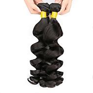 ペルービアンヘア ウェーブ 人間の髪編む / 人毛エクステンション 3バンドル 8-28 インチ 人間の髪織り キャップレス 最高品質 / ホット販売 / 黒人女性用 ブラック 女性用