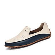 baratos Sapatos Masculinos-Homens Sapatos de Condução Couro Ecológico Verão Conforto Mocassins e Slip-Ons Bege / Azul