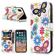 billiga Mobil cases & Skärmskydd-fodral Till Apple iPhone X / iPhone 8 Plus Plånbok / Korthållare / med stativ Fodral Fjäril / Blomma Hårt PU läder för iPhone X / iPhone 8 Plus / iPhone 8
