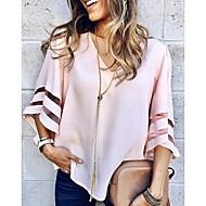 baratos -Mulheres Blusa Sólido Decote V / luva do alargamento