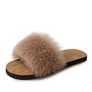 baratos Sapatos Femininos-Mulheres Sapatos Pêlo Sintético Verão Conforto Chinelos e flip-flops Sem Salto Dedo Aberto Penas Preto / Bege / Café