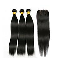 3 pacchi con chiusura Brasiliano Liscio 8A Cappelli veri Ciocche a onde capelli veri Extension di capelli umani Ciocche con tessitura 8-22 pollice Colore Naturale Tessiture capelli umani 4x4 Chiusura