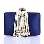 Χαμηλού Κόστους Τσαντάκια-Γυναικεία Τσάντες Πολυεστέρας Βραδινή τσάντα Κρυστάλλινη λεπτομέρεια / Λεπτομέρεια με πέρλα / Φούντα Θαλασσί / Ρουμπίνι / Ανθισμένο Ροζ