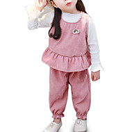 Baby Girls' Street chic Daily Solid Colored Long Sleeve Regular Polyester Clothing Set Pink / Toddler