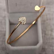 Kadın's Kübik Zirconia minik elmas Bilezikler Halhallar Yapay Elmas Altın Kaplama Kalp Aşk Bayan Temel Moda Bilezikler Mücevher Gümüş / Altın Uyumluluk Düğün Parti Doğumgünü Hediye Günlük