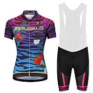 Malciklo Dame Cykeltrøje og shorts med seler - Hvid / Sort Cykel Shorts med seler / Trøje, Hurtigtørrende, Anatomisk design, Refleksbånd Lycra / YKK-lynlås