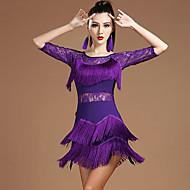 Λάτιν Χοροί Φορέματα Γυναικεία Επίδοση Μοντάλ Δαντέλα / Φούντα Μισό μανίκι Φυσικό Φόρεμα