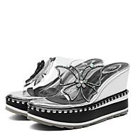 baratos Sapatos Femininos-Mulheres Sapatos Borracha Verão Conforto Sandálias Salto Plataforma Peep Toe Pedrarias / Laço Branco