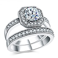 Dámské Kubický zirkon Vrstvené Band Ring - S925 Sterling Silver Kytky Vintage, Elegantní 6 / 7 / 8 Stříbrná Pro Svatební / Zásnuby / Obřad