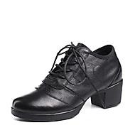 billige Kustomiserte dansesko-Dame Moderne sko Nappa Lær Høye hæler Tykk hæl Kan spesialtilpasses Dansesko Hvit / Svart / Rød
