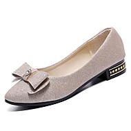 abordables Chaussures Plates pour Femme-Femme Chaussures Polyuréthane Eté Confort Ballerines Talon Plat Bout rond Noeud Noir / Argent / Violet