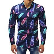 Herre - Blomstret / Farveblok Trykt mønster Basale Skjorte