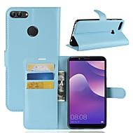 billiga Mobil cases & Skärmskydd-fodral Till Huawei Y9 (2018)(Enjoy 8 Plus) / Y7 Prime (2018) Plånbok / Korthållare / Lucka Fodral Enfärgad Hårt PU läder för Y9 (2018)(Enjoy 8 Plus) / Huawei Y7 Prime(Enjoy 7 Plus) / Y7 Prime (2018)