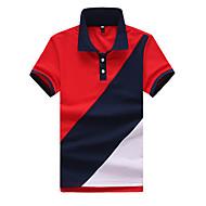 Муж. Офис Polo Рубашечный воротник Контрастных цветов Белый L / С короткими рукавами