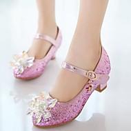 baratos Sapatos de Menina-Para Meninas Sapatos Couro Ecológico Primavera & Outono Sapatos para Daminhas de Honra Saltos Cristais / Lantejoulas para Infantil Prateado / Rosa claro