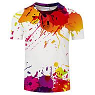 Herre - Geometrisk / Regnbue Trykt mønster Basale / overdrevet T-shirt