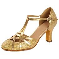 billige Kustomiserte dansesko-Dame Moderne sko Lakklær Sandaler / Høye hæler Paljett / Spenne Kubansk hæl Kan spesialtilpasses Dansesko Gull