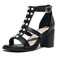 baratos Sapatos Femininos-Mulheres Sapatos Pele Napa Verão Conforto Sandálias Salto Robusto Dedo Aberto Pérolas Sintéticas Preto