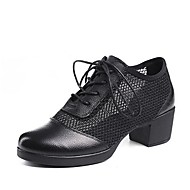 billige Kustomiserte dansesko-Dame Moderne sko Nappa Lær / Netting Høye hæler Tykk hæl Kan spesialtilpasses Dansesko Hvit / Svart / Rød
