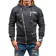Men's Sports Basic Long Sleeve Hoodie / Hoodie Jacket - Solid Colored Hooded Black L / Fall / Winter