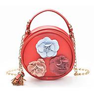 baratos Bolsas de Ombro-Mulheres Bolsas PU Bolsa de Ombro Apliques / Mocassim Floral Rosa / Amarelo / Marron