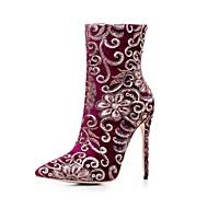 baratos Sapatos Femininos-Mulheres Sapatos Tricô Inverno Botas da Moda Botas Salto Agulha Dedo Apontado Botas Cano Médio Preto / Vermelho