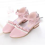 baratos Sapatos de Menina-Para Meninas Sapatos Couro Ecológico Primavera & Outono Sapatos para Daminhas de Honra Saltos Pérolas / Fru-Fru para Infantil Prateado / Rosa claro