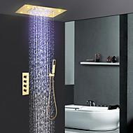 tanie Baterie prysznicowe-Bateria Prysznicowa - Współczesny Ti-PVD Budowa prysznica Zawór ceramiczny / Mosiądz / Cztery uchwyty trzy otwory