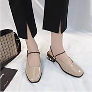 preiswerte -Damen Schuhe PU Sommer Komfort Cloggs & Pantoletten Block Ferse Geschlossene Spitze Schwarz / Beige