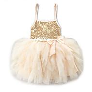 Νήπιο Κοριτσίστικα Γλυκός / χαριτωμένο στυλ Αργίες / Εξόδου Μονόχρωμο Δαντέλα / Πούλιες / Επίπεδα Αμάνικο Μίνι / Πάνω από το Γόνατο Spandex Φόρεμα Χρυσό / Σουρωτά / Πλισέ / Δίχτυ