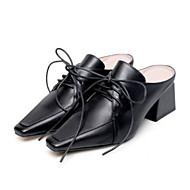 preiswerte -Damen Schuhe Nappaleder Frühling / Sommer Komfort Cloggs & Pantoletten Blockabsatz Geschlossene Spitze Weiß / Schwarz