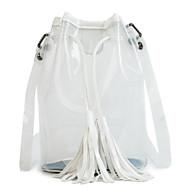 baratos Bolsas Tote-Mulheres Bolsas PVC Tote Mocassim Branco / Preto / Prata