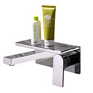 お買い得  浴室洗面ボウル用蛇口-バスルームのシンクの蛇口 - 組み合わせ式 / 新デザイン クロム 壁式 シングルハンドルつの穴