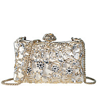 Women's Bags PU(Polyurethane) Evening Bag Crystals / Hollow-out White / Black / Blushing Pink