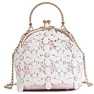 baratos Bolsas Tote-Mulheres Bolsas PU Tote Botões / Renda Branco / Rosa