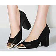 baratos Sapatos Femininos-Mulheres Sapatos Pele de Carneiro Primavera / Outono Conforto / Plataforma Básica Saltos Salto Robusto Preto / Verde Tropa / Verde