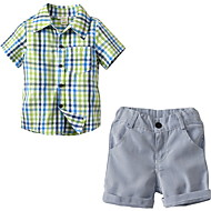 Toddler Boys' Basic Solid Colored Short Sleeve Polyester Clothing Set Light Green