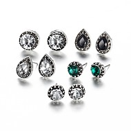 Women's Classic Retro Stud Earrings Rhinestone Earrings Ladies Sweet Elegant Jewelry Silver For Ceremony Going out 5 Pairs